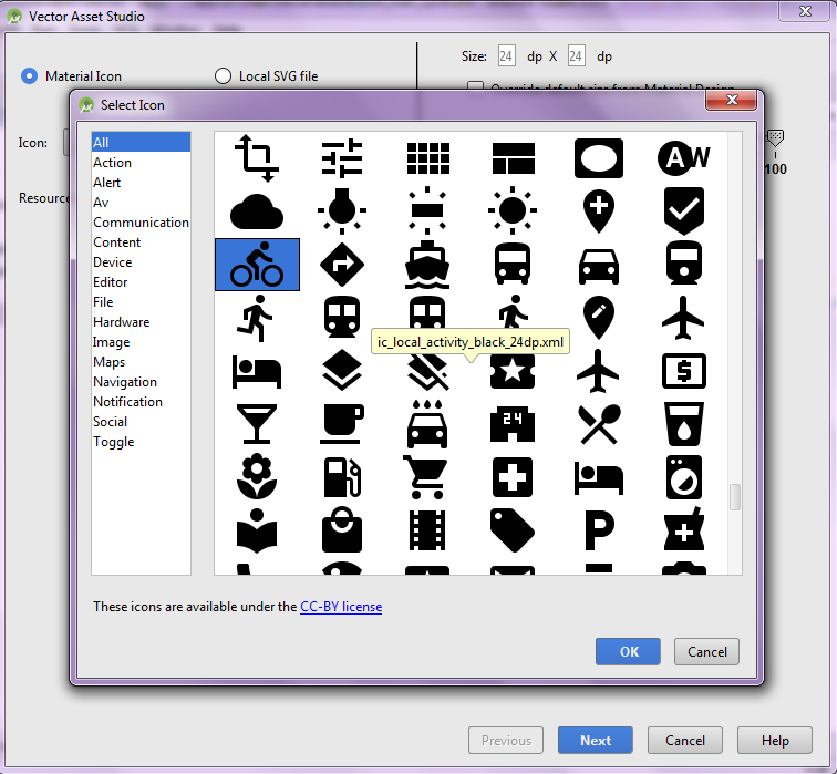Select Icon Window