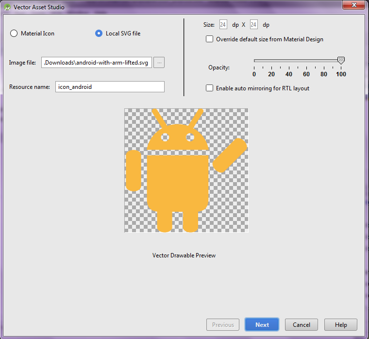 Vector Drawable Preview