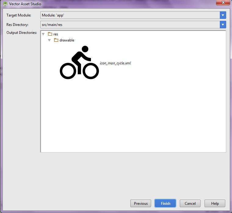 Icon output window